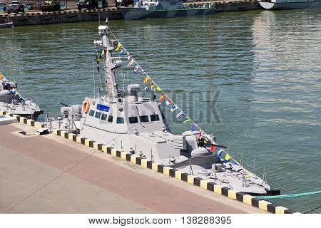 Odesa, Ukraine - July 03, 2016: New armored boats during the ship naming ceremony.