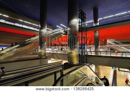 MADRID, SPAIN - OCTOBER 27: Chamartin train station on October 27, 2010 in Madrid, Spain. Madrid Metro has annual ridership of 634 million passengers (2011).