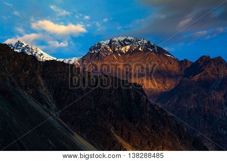 Spectacular mountain scenery Himalaya Range background. leh