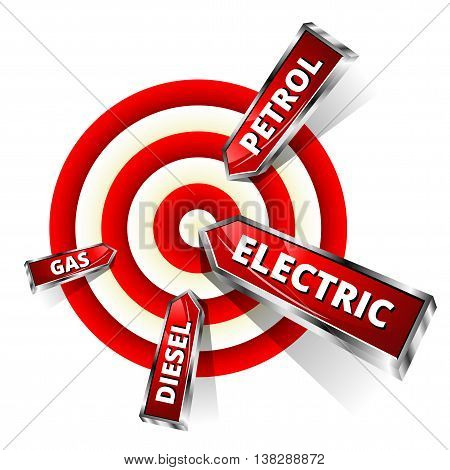 Car Fuel Achieve Objectives. Eco Concept Vector Illustration. Red Pointers