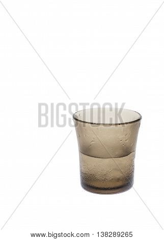 Cold water in glass on a white background