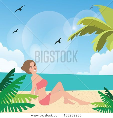 girl woman pose at beach sand sun tanning wearing bikini with palm tree around vector