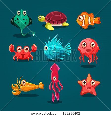 Cute sea life creatures cartoon animals set with fish octopus jellyfish isolated illustration