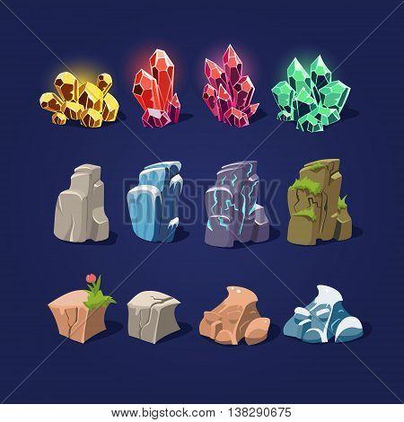 Set of cartoon illustration stones and minerals
