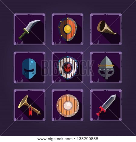 Viking element Cartoon weapons Game icons set