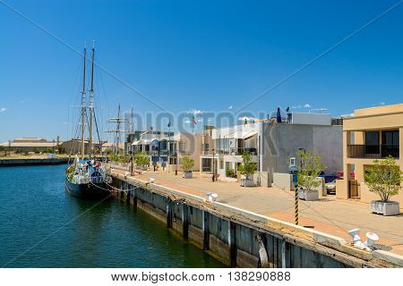 Adelaide Australia - December 29 2014: View at Port Adelaide from the ship on a bright day.