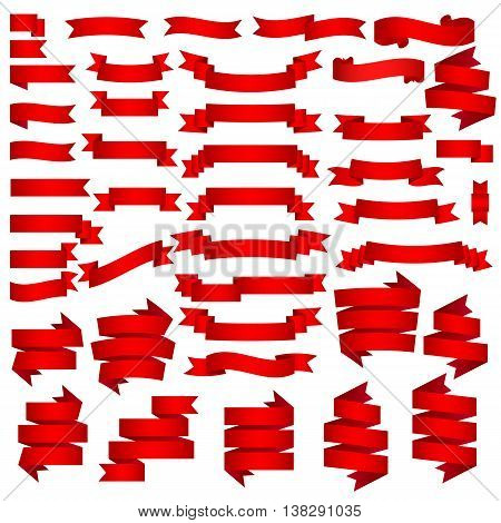 collection of red ribbons on a white background