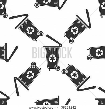 Trash can icon seamless pattern on white background. Vector Illustration