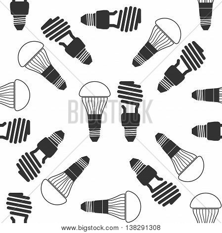 LED bulbs and fluorescent light bulb icon pattern