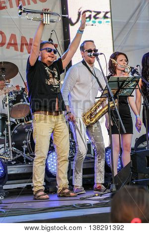 St. Petersburg, Russia - 2 July, Sing along with the musicians on stage, 2 July, 2016. Annual international festival of jazz and blues in St. Petersburg.