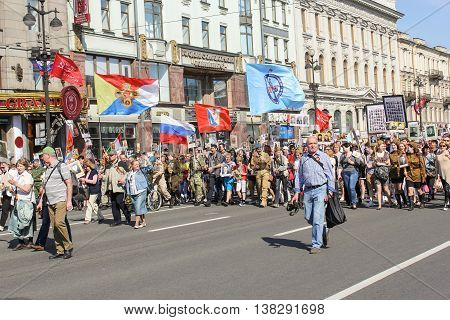 St. Petersburg, Russia - 9 May, The line of people with flags, 9 May, 2016. Memory Action