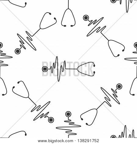 Stethoscope with a heart beat icon seamless pattern on white background. Vector Illustration