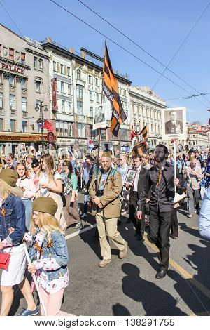 St. Petersburg, Russia - 9 May, People with St. George's flags, 9 May, 2016. Memory Action