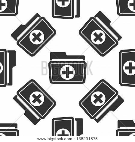 Medical health record folder for healthcare icon seamless pattern on white background. Vector Illustration