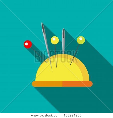 Yellow pincushion with pins icon in flat style on a turquoise background