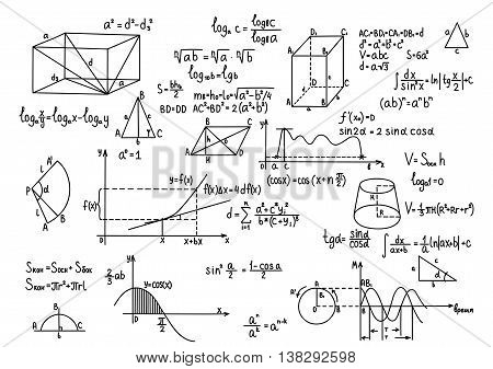 Hand drawn geometry formulas Science knowledge education