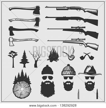 Set of axes, guns and lumberjack character.