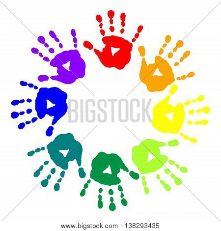 The bright postcard with a colorful handprints