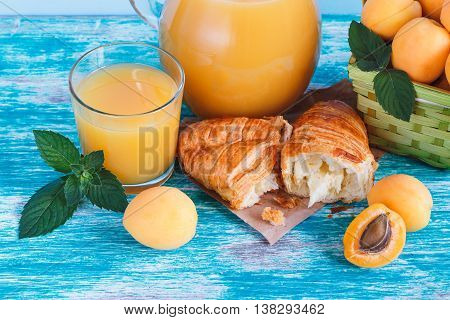 Glass Of Juice, Croissant And Apricots