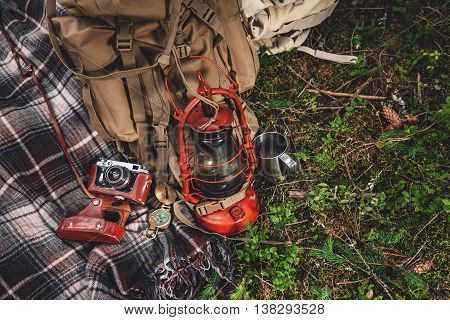 Travel Set, Blanket Are Vintage Compass, Camera, Canteen And A Flashlight