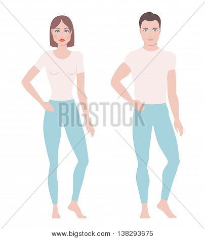 Vector illustration of man and woman figures standing in simple clothes, model figures, abstract people