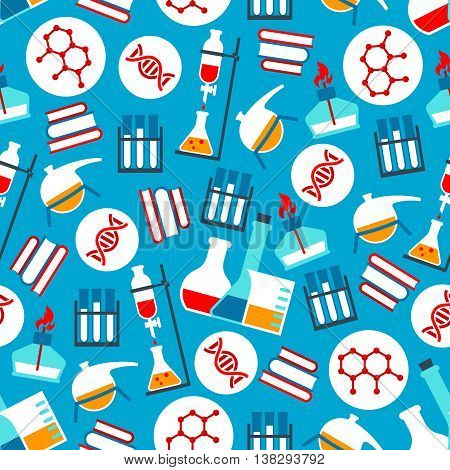 Science and research laboratory seamless pattern on blue background. Test tubes and flasks, dna and chemical formulas, books and burner. Education, science and experiment theme