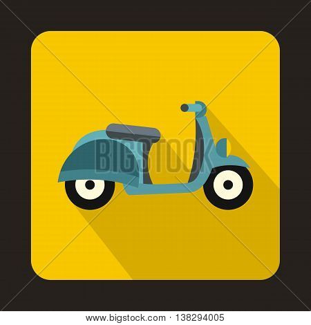 Motorbike icon in flat style on a yellow background