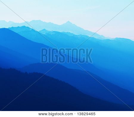 Blue mountain silhouette