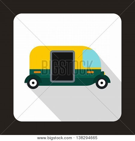 Thailand three wheel native taxi icon in flat style on a white background