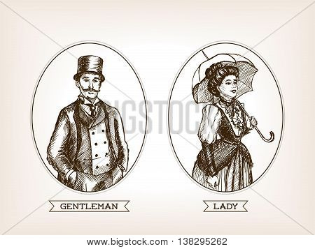 Vintage lady and gentleman sketch style vector illustration. Old engraving imitation.