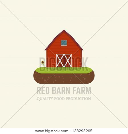 Flat vector illustration farm fresh concept with red barn standing on island of soil with grass sunflower.