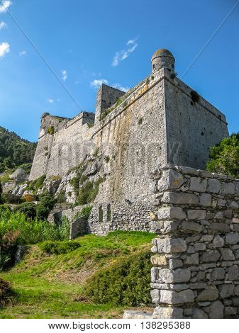 Doria castle o Castello Doria, the ancient fortress overlooking the Gulf of Poets in Portovenere, Cinque Terre Ligurian Coast, La Spezia, Italy.