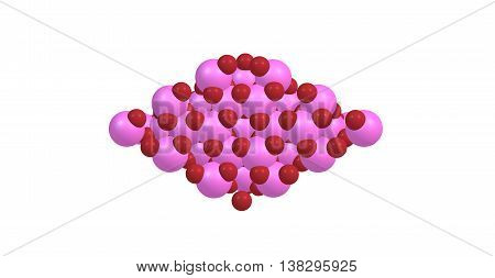 Corundum is a crystalline form of aluminium oxide typically containing traces of iron, titanium, vanadium. It is a rock-forming mineral. 3d illustration