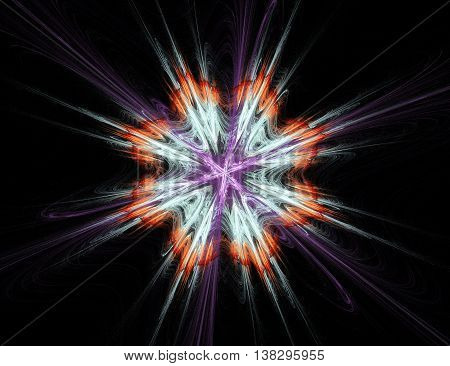 Abstract flowers on black background. Creative fractal design in orange and turquoise colors