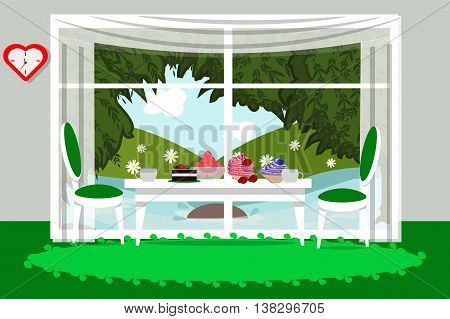 Cozy dining room in a flat style, food, drinks , furniture, vector illustration