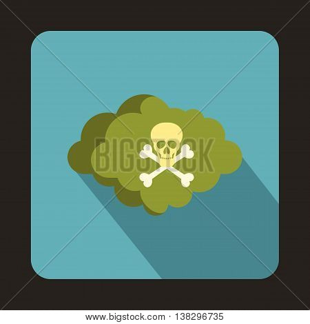Cloud with skull and bones icon in flat style on a baby blue background