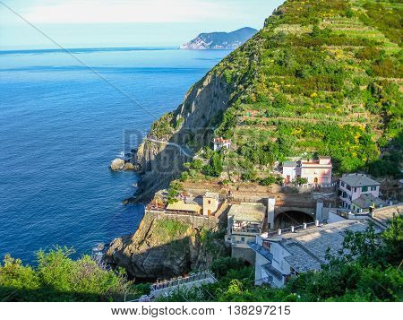 Way of love or via Dell'Amore in Cinque Terre National Park, Ligurian Coast, La Spezia, Italy.