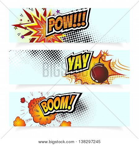 Pop Art Comic Book Vector Illustration. Comic Book Design Elements. Explosion Bomb, Steam cloud, Sound Effects, Halftone Background. Header and Footer Collection with Shadow