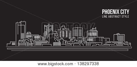 Cityscape Building Line art Vector Illustration design - Phoenix city