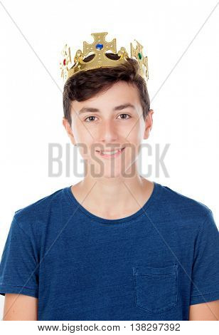 Teenager boy with king crown isolated on white background