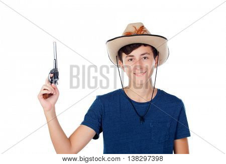 Teenager boy with a cowboy hat and a gun isolated on white background