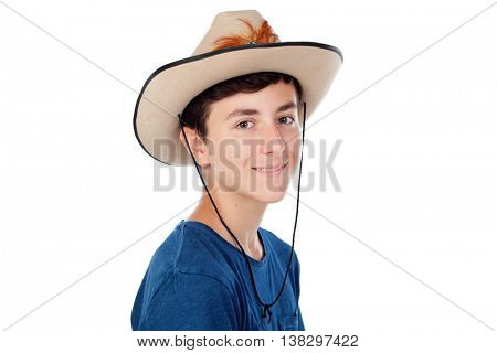 Teenager boy with a cowboy hat isolated on a white background