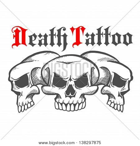 Group of skulls without mandible and naked teeth for death tattoo or mascot logo, halloween emblem. Concept of horror and death, evil and dangerous, marauder and robber.
