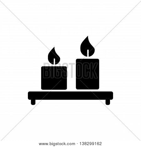 Candles icon isolated on white background. Silhouette vector illustration