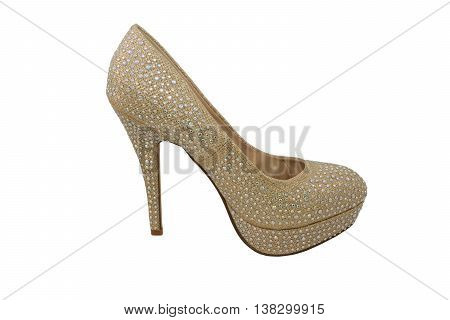 High Heel Gold Shoe, Covered In Sparkling Gems