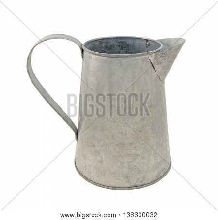 Empty metal pitcher isolated on a white background