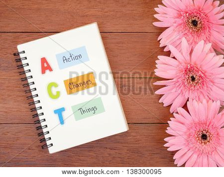 Word spelling ACT and handwriting Action Changes Things