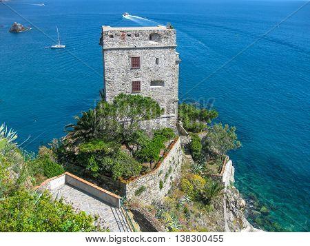 Aerial view of Castello dei Fieschi in Monterosso al Mare, Cinque Terre, Italy.