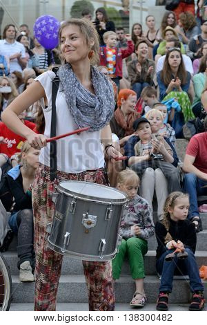 VILNIUS, LITHUANIA - MAY 18: Unidentified musician play drums and other instrument in Street music day on May 18, 2013 in Vilnius. Its a most popular event on May in Vilnius, Lithuania