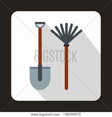 Rake and shovel icon in flat style on a white background